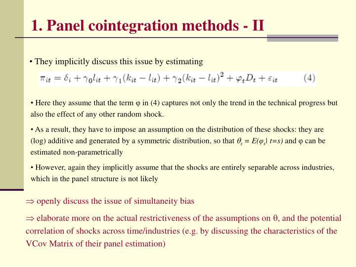 1. Panel cointegration methods - II
