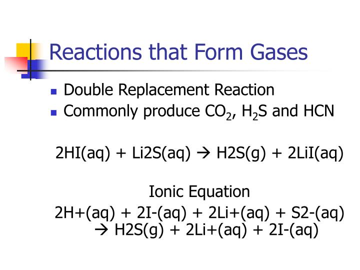 Reactions that Form Gases