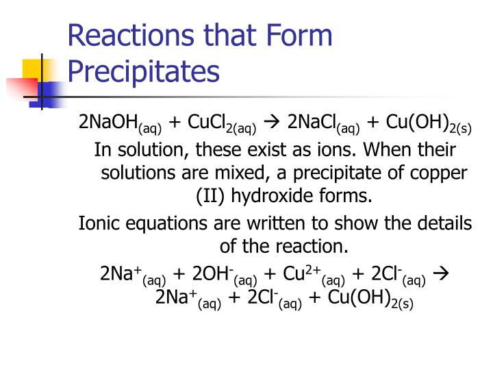 Reactions that Form Precipitates