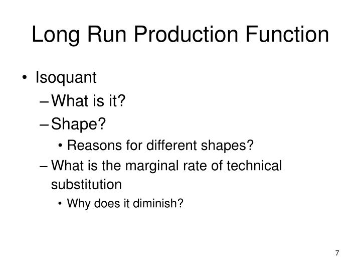 Long Run Production Function
