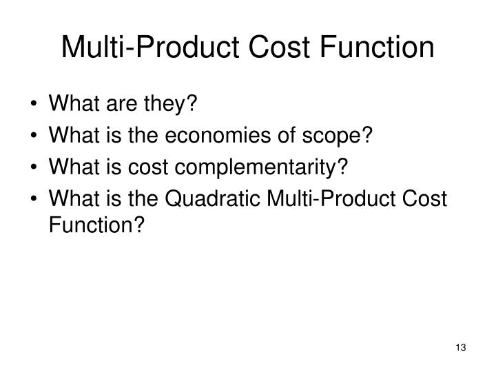 Multi-Product Cost Function