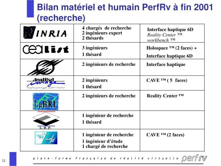 Bilan matériel et humain PerfRv à fin 2001 (recherche)