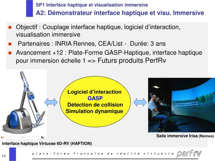 SP1 Interface haptique et visualisation immersive
