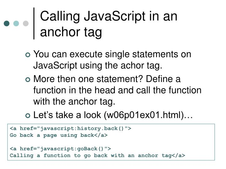 Calling JavaScript in an anchor tag