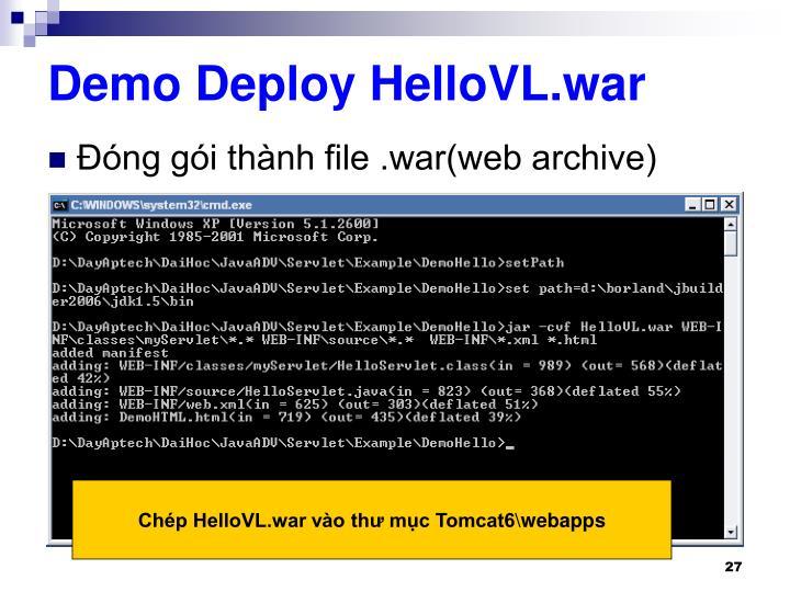 Demo Deploy HelloVL.war