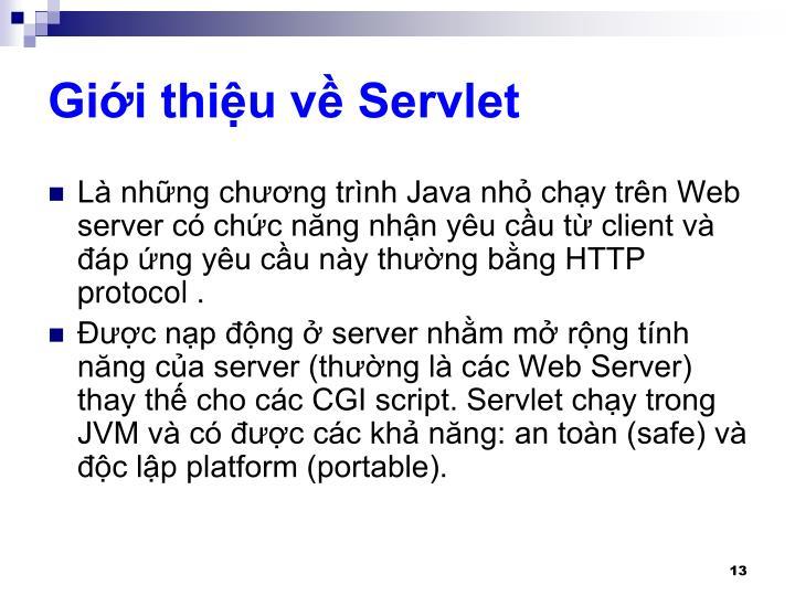 Giới thiệu về Servlet