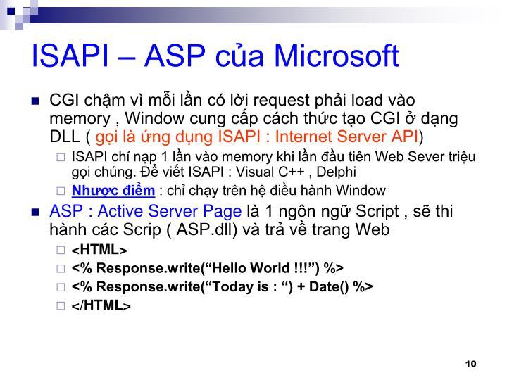 ISAPI – ASP của Microsoft