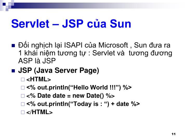 Servlet – JSP của Sun