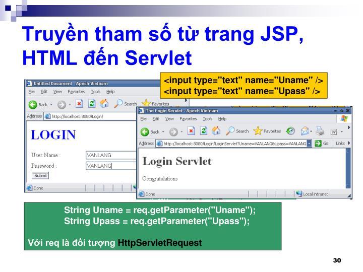 Truyền tham số từ trang JSP, HTML đến Servlet