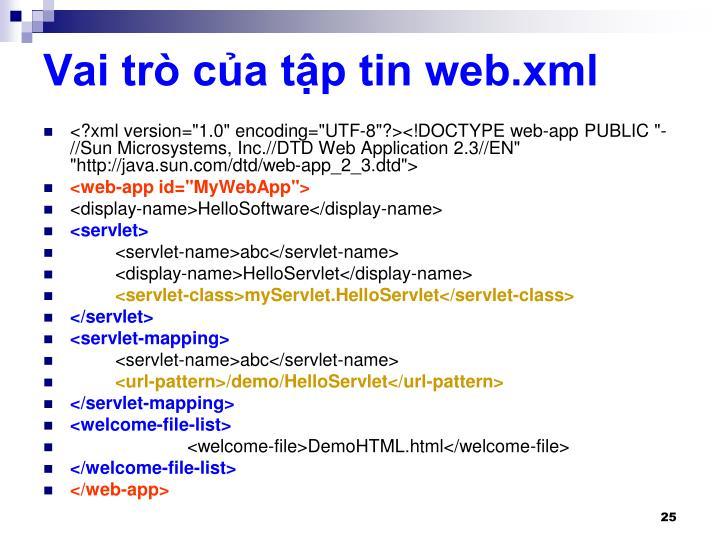 Vai trò của tập tin web.xml