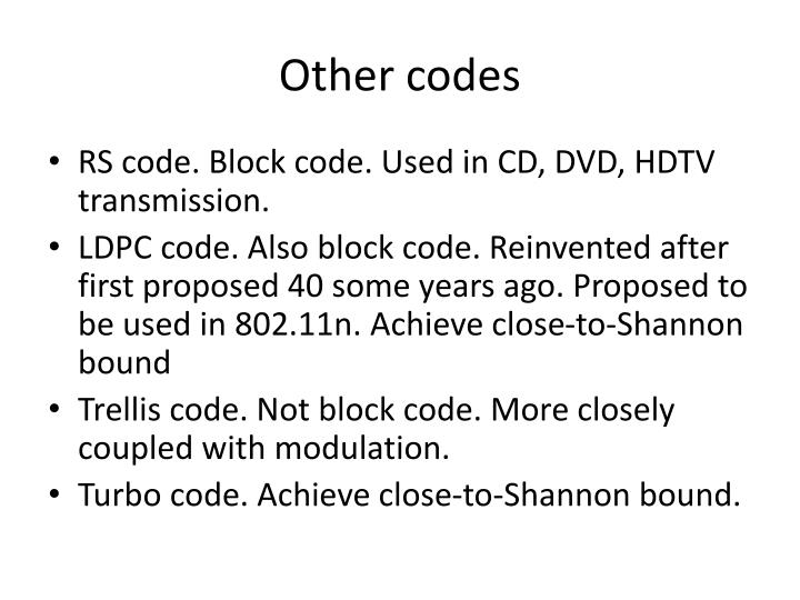 Other codes