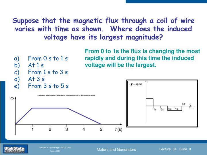 Suppose that the magnetic flux through a coil of wire varies with time as shown.  Where does the induced voltage have its largest magnitude?