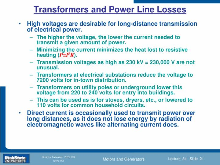 Transformers and Power Line Losses