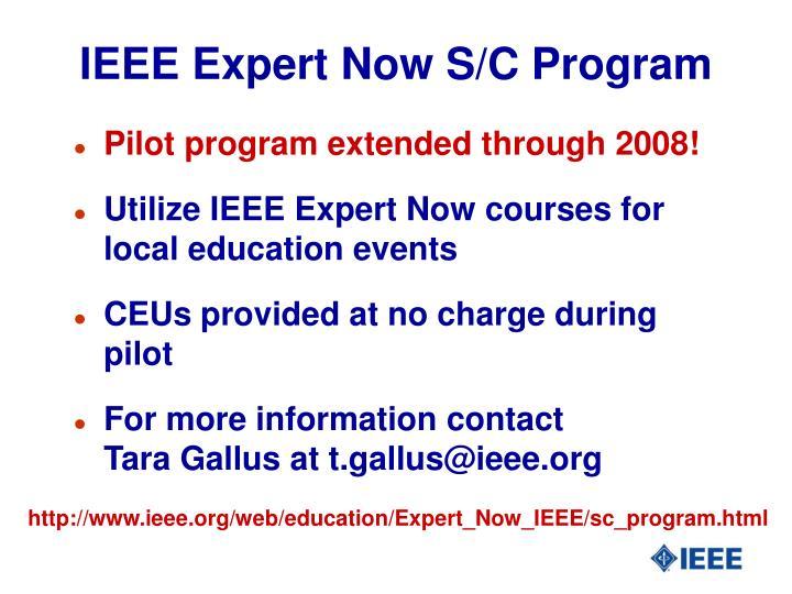 IEEE Expert Now S/C Program