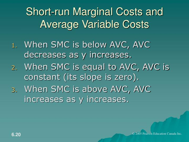 Short-run Marginal Costs and Average Variable Costs