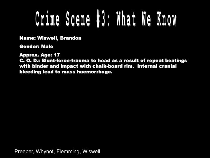 Crime Scene #3: What We Know