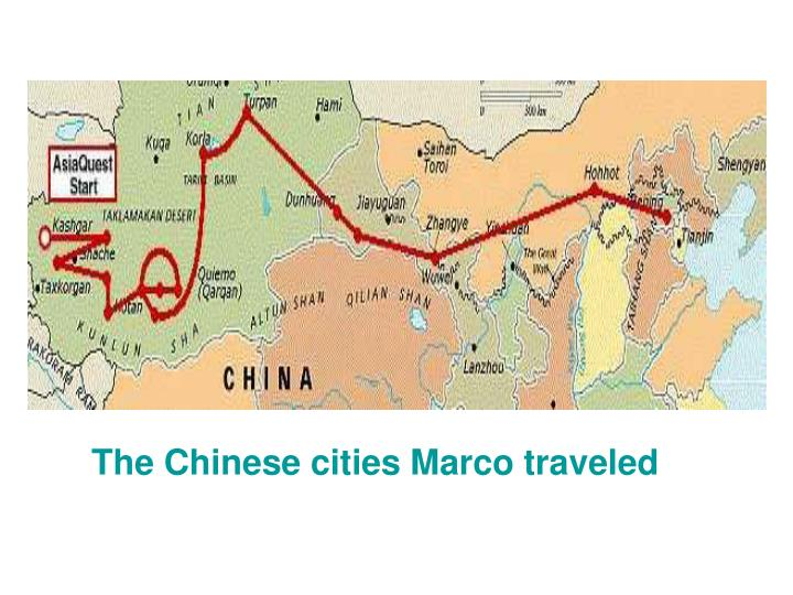 The Chinese cities Marco traveled