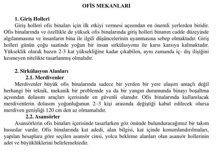 OFİS MEKANLARI