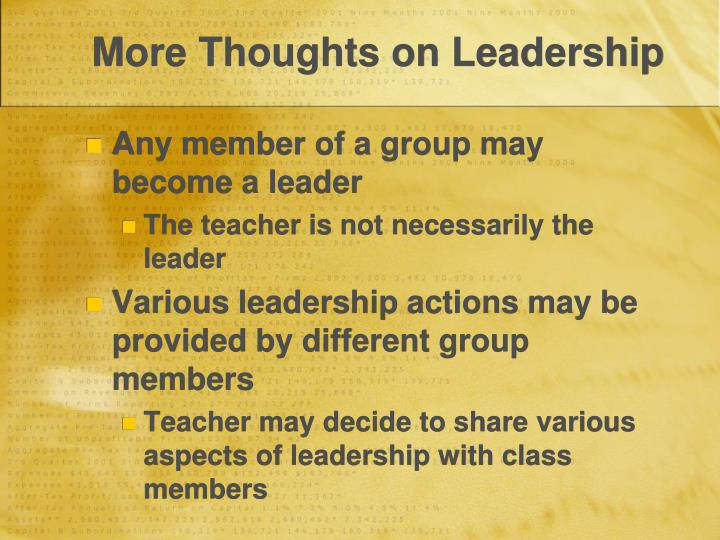 More Thoughts on Leadership