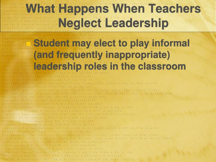What Happens When Teachers Neglect Leadership