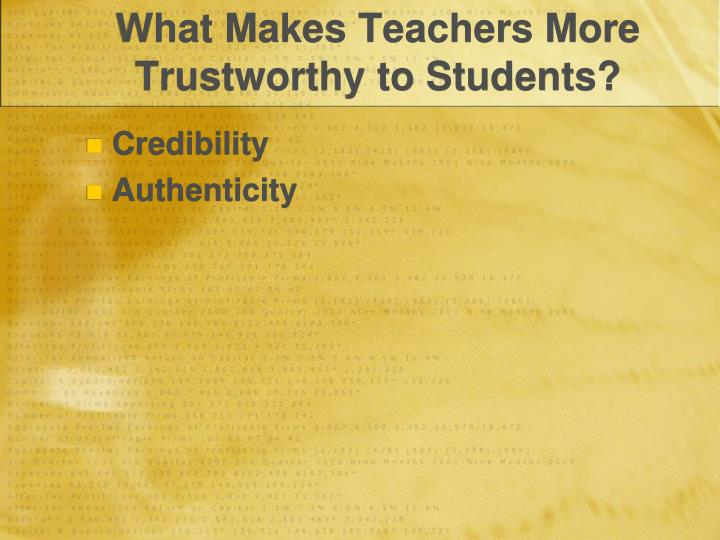 What Makes Teachers More Trustworthy to Students?