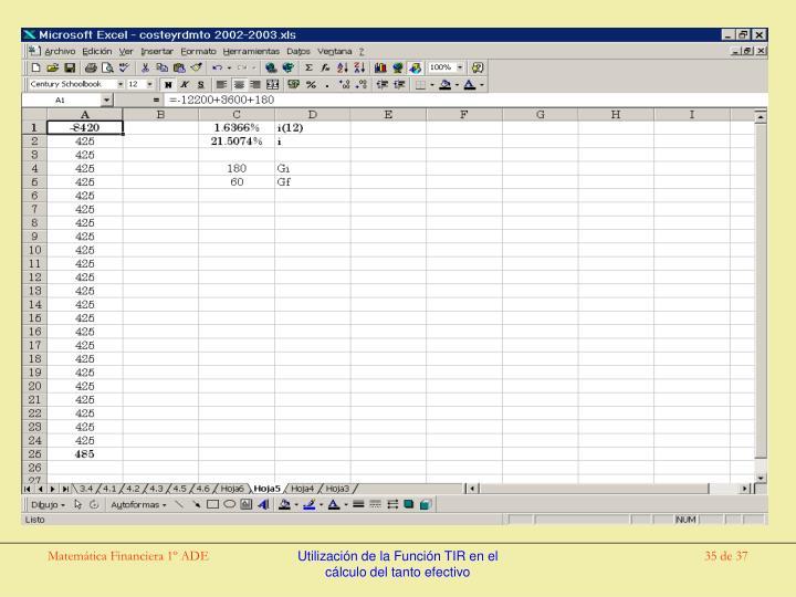 Utilización de la Función TIR en el cálculo del tanto efectivo
