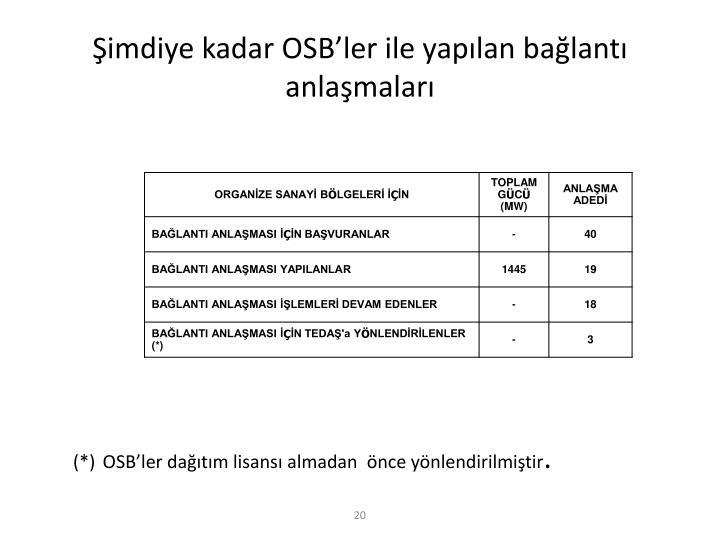 Şimdiye kadar OSB'ler ile yapılan bağlantı anlaşmaları