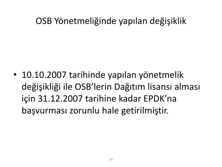 OSB Yönetmeliğinde yapılan değişiklik