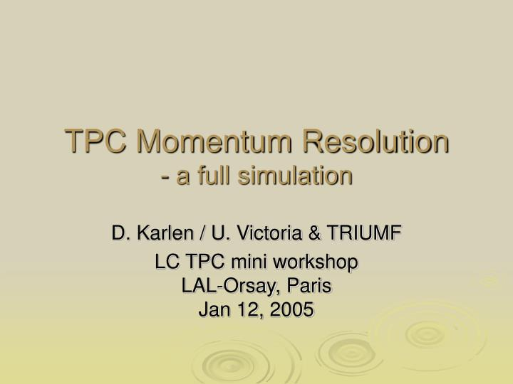 Tpc momentum resolution a full simulation