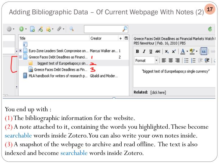 Adding Bibliographic Data – Of Current Webpage With Notes