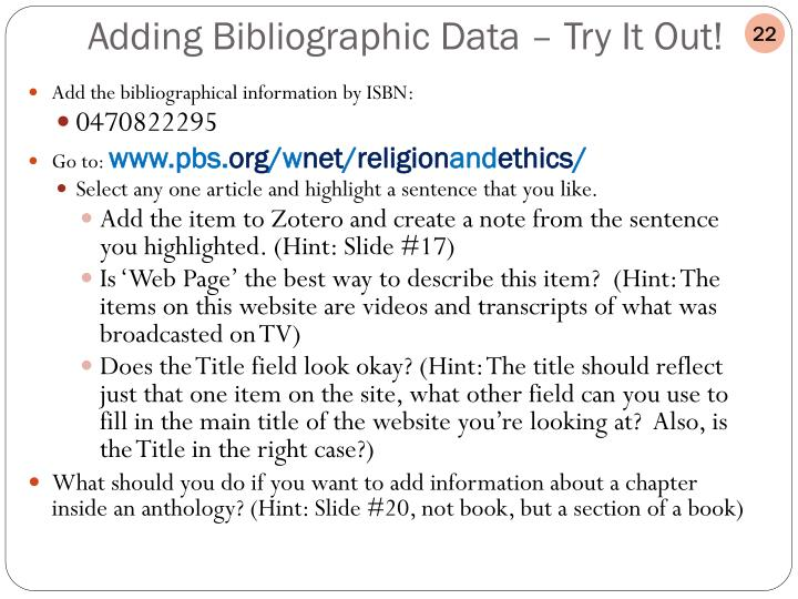 Add the bibliographical information by ISBN: