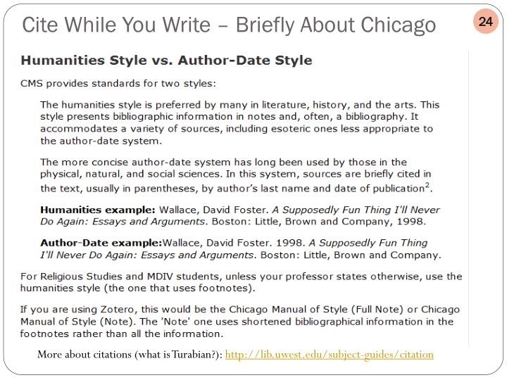 Cite While You Write – Briefly About Chicago