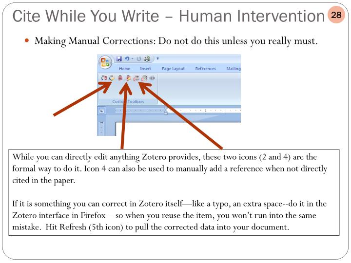 Making Manual Corrections: Do not do this unless you really must.