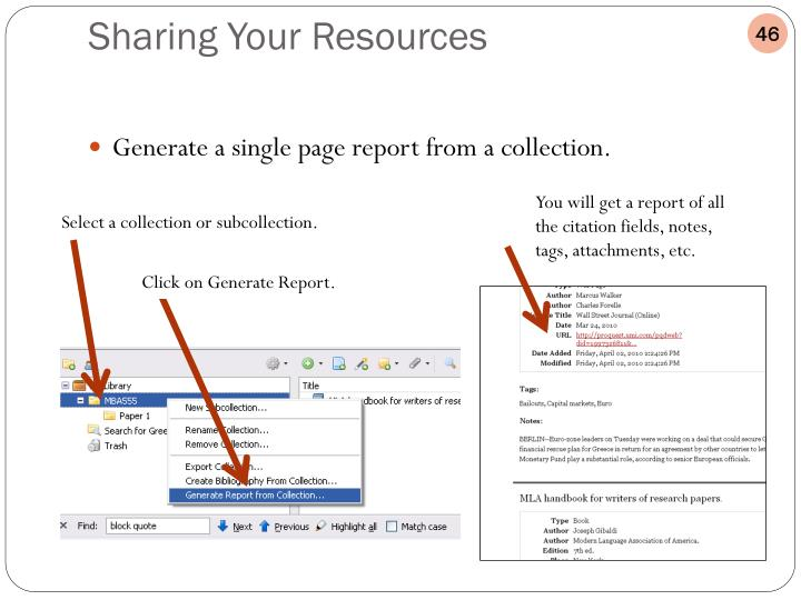 Generate a single page report from a collection.