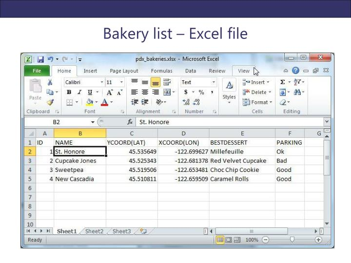 Bakery list – Excel file