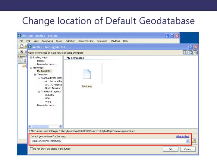 Change location of Default Geodatabase