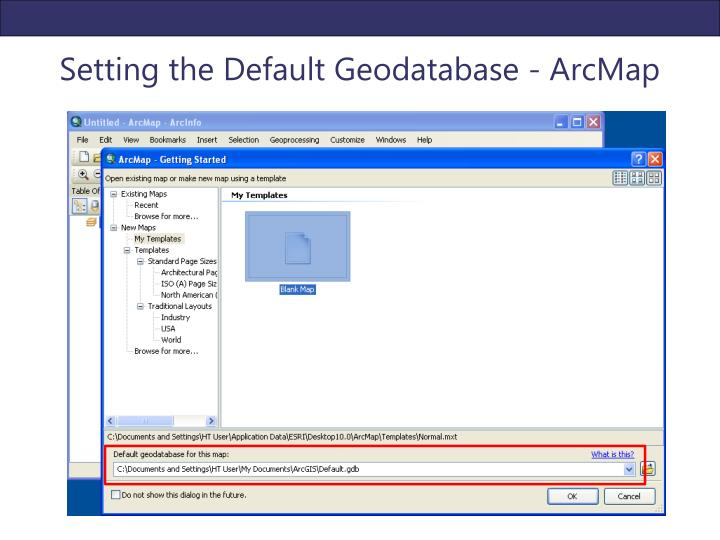 Setting the Default Geodatabase - ArcMap