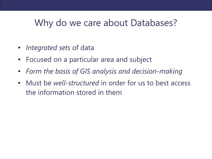 Why do we care about Databases?