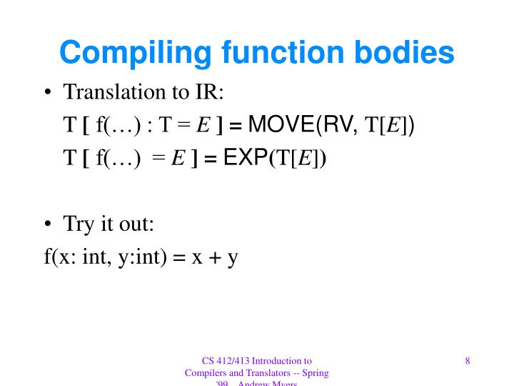 Compiling function bodies