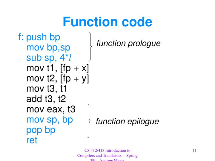 Function code