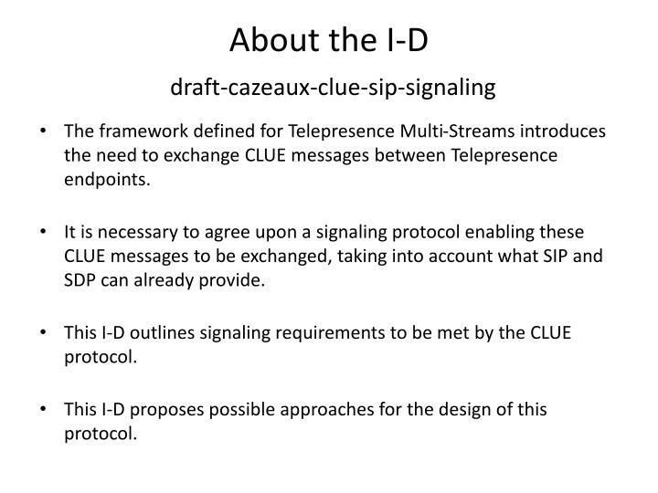 About the i d draft cazeaux clue sip signaling