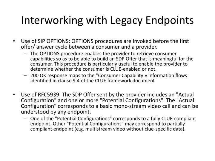 Interworking with Legacy Endpoints