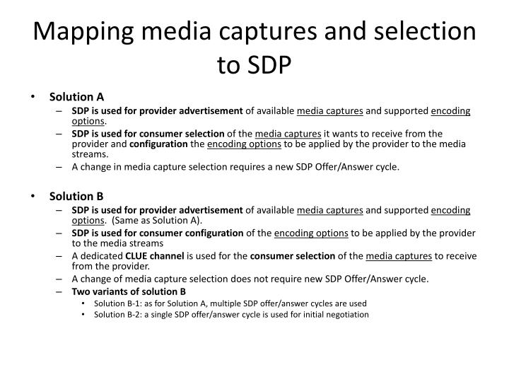 Mapping media captures and selection to sdp