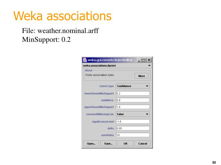 Weka associations