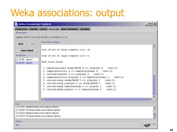 Weka associations: output