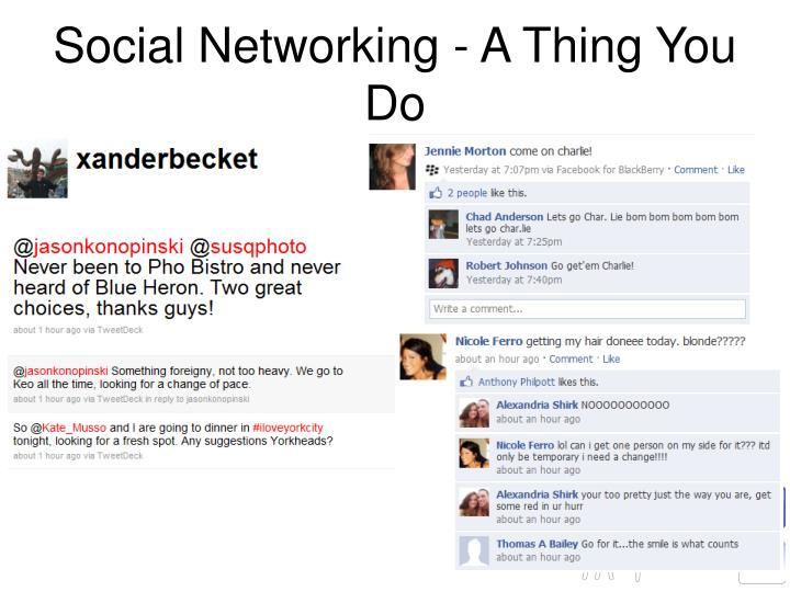 Social Networking - A Thing You Do