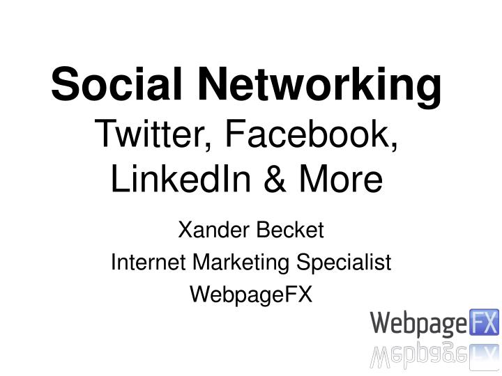 Xander becket internet marketing specialist webpagefx