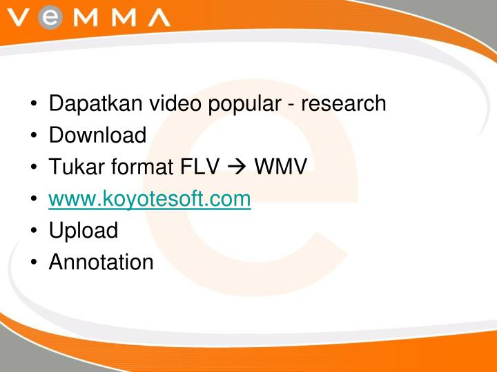 Dapatkan video popular - research