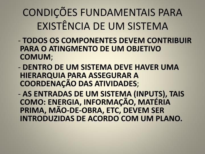 CONDIÇÕES FUNDAMENTAIS PARA EXISTÊNCIA DE UM SISTEMA