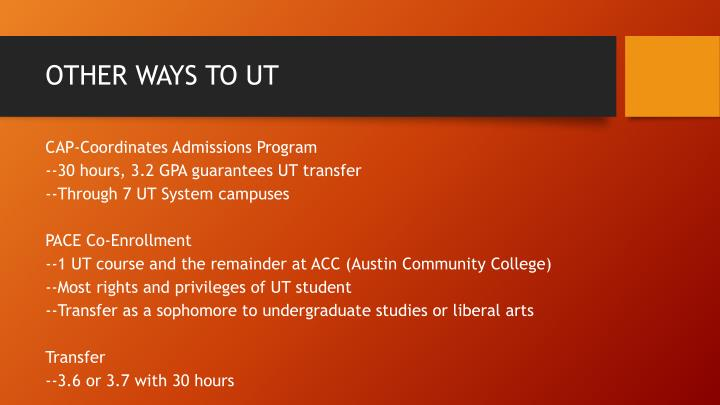 OTHER WAYS TO UT